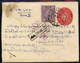 Indian States - Travancore 1910 3/4Ch Native p/stat env with additional 3Ch adhesive with