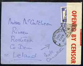 India 1941 cover to Ireland bearing 3.5ann with censor tape & fine trangular Passed Censor