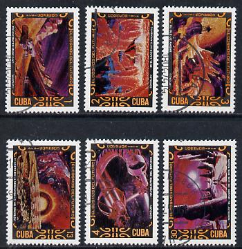 Cuba 1974 Cosmonautics Day cto set of 6 (Science Fiction Paintings), SG 2113-18*