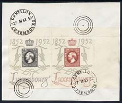 Luxembourg 1952 National Philatyelic Exhibition 2f & 4f on piece with special