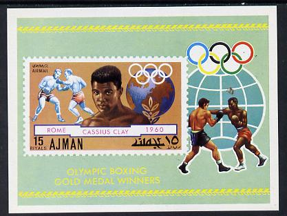 Ajman 1971 Olympic Boxers (Clay) imperf m/sheet unmounted mint, Mi BL 308