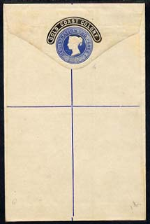 Gold Coast 1888 2d blue reg envelope (Great Britain size G with semi-circular tablet opt) unused and fine
