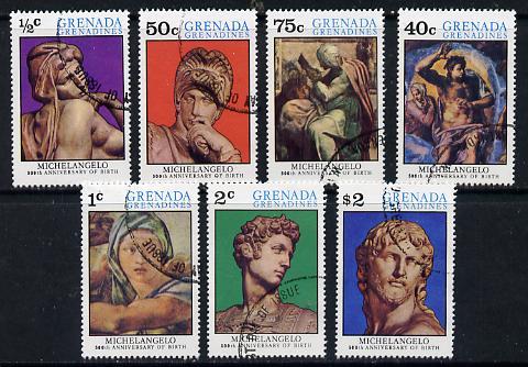 Grenada - Grenadines 1975 Michelangelo cto set of 7, SG 68-74