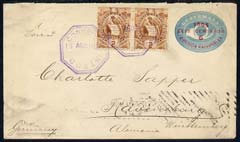 Guatemala 1896 6 cent postal stat cover to Germany bearing pair of additional 2c
