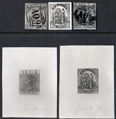 St Kitts-Nevis photographs from Sperati's original negatives 5 photos incl 2 die proofs & one with special h/stamp