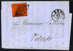 Italy - Papal States 1870 neat entire letter to Viterbo bearing 10c orange tied by lozenge of dots with Rome cds alongside, Viterbo b/stamp
