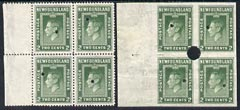 Newfoundland 1941-44 KG6 2c perf & imperf matched proof blocks of 4 ex archives for checking, each stamp with Waterlow security punch hole, some wrinkling, SG277