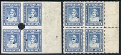 Newfoundland 1941-44 KG6 Princess Elizabeth 4c in perf & imperf proof blocks of 4 from Waterlow archives, each stamp with security punch hole, SG279 some wrinkling