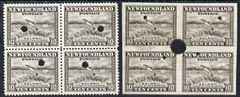 Newfoundland 1941-44 KG6 Salmon 10c in perf & imperf proof blocks of 4 from Waterlow archives, each stamp with security punch hole, SG283 some wrinkling