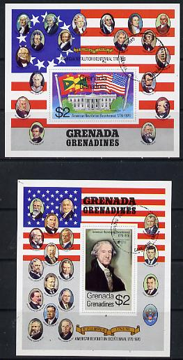 Grenada - Grenadines 1976 USA Bicentenary set of 2 m/sheets cto used, SG MS 102