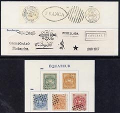 Ecuador 18 forgery items on pieces from Fournier album (5 stamps, 9 opts & 4 cancellations)