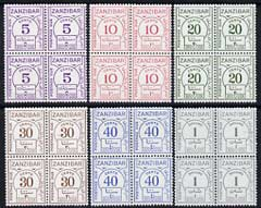 Zanzibar 1936-62 Postage Due set of 6 on chalky paper in superb unmounted mint blocks of 4, SG D25a-30a