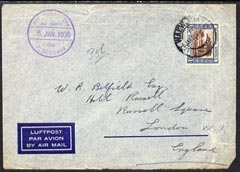 South West Africa 1936 cover to England franked pictorial 1s cancelled Walvis Bay cds with fine P D Ubena cachet in violet, cover creased