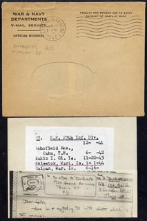 Marshall Islands 1944 V-Mail complete with envelope to New York censored in Marshall Is