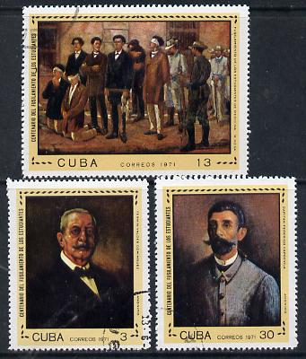 Cuba 1971 Medical Students Execution (Paintings) cto set of 3, SG 1887-89*