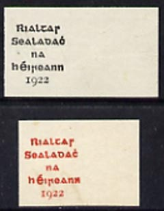 Ireland 1922 Dollard optd proofs in black and red on ungummed stamp sized pieces authorized h/stamp on backs