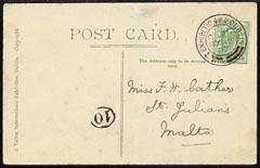 Ireland 1907 PPC (Irish International Exhibition) bearing Great Britain 1/2d with exhibition cancel to Malta, fine