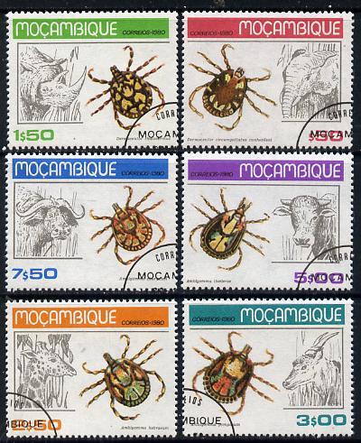 Mozambique 1980 Ticks cto set of 6 SG 797-802*