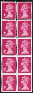 Great Britain 1971-91 QEII Machin 3p bright magenta block of 10 with blind perforation on every horizontal row (broken perf pin), superb unmounted mint and an inexpensive error.