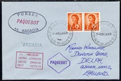 Hong Kong used in Sydney (New South Wales) 1968 Paquebot cover to England carried on SS Arcadia with various paquebot and ships cachets