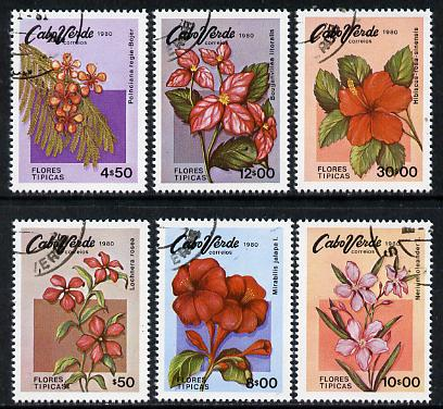 Cape Verde Islands 1980 Flowers cto set of 6, SG 498-503*, stamps on flowers