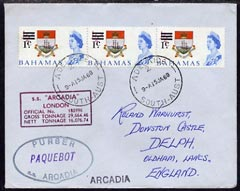Bahamas used in Adelaide 1968 Paquebot cover to England carried on SS Arcadia with various paquebot and ships cachets