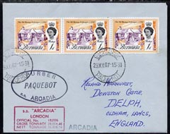 Bermuda used in Cape Town (South Africa) 1967 Paquebot cover to England carried on SS Arcadia with various paquebot and ships cachets
