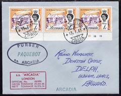 Bermuda used in Lisbon (Portugal) 1967 Paquebot cover to England carried on SS Arcadia with various paquebot and ships cachets