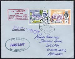 Bermuda used in Tenerife 1967 Paquebot cover to England carried on SS Arcadia with various paquebot and ships cachets