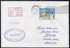 Bermuda used in Wilmington (California) 1968 Paquebot cover to England carried on SS Arcadia with various paquebot and ships cachets