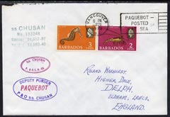 Barbados used in Vancouver (Canada) 1970 Paquebot cover to England carried on SS Chusan with various paquebot and ships cachets
