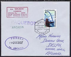 Australian Antarctic Territory used in Tenerife 1967 Paquebot cover to England carried on SS Arcadia with various paquebot and ships cachets