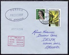 Australian Antarctic Territory used in Durban (South Africa) 1968 Paquebot cover to England carried on SS Arcadia with various paquebot and ships cachets