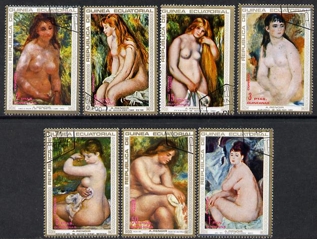 Equatorial Guinea 1973 Nude Paintings by Renoir cto set of 7, Mi 208-14*