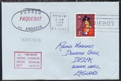 Fiji used in Perth (Western Australia) 1968 Paquebot cover to England carried on SS Arcadia with various paquebot and ships cachets
