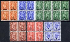 British Postal Agencies in Eastern Arabia 1950 KG6 set to 4as (including both 1.5d) in unmounted mint blocks of 4, SG 35-40  cat \A388