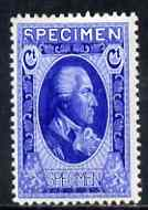 Cinderella - Harrison & Sons sample stamp in bright-blue inscribed SPECIMEN produced by the Collogravure process, unmounted mint