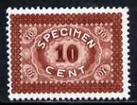 Cinderella - Harrison & Sons 10c sample stamp in brown inscribed SPECIMEN produced by the Collogravure process, unmounted mint