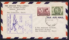 Australia 1947 First Clipper Flight cover (illustrated with Map cachet) from Sydney to san francisco