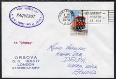 Belgium used in Vancouver (Canada) 1970 Paquebot cover to England carried on SS Orsova with various paquebot and ships cachets