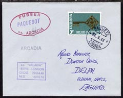 Belgium used in Lisbon (Portugal) 1968 Paquebot cover to England carried on SS Arcadia with various paquebot and ships cachets