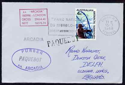 South Africa used in Kobe (Japan) 1968 Paquebot cover to England carried on SS Arcadia with various paquebot and ships cachets