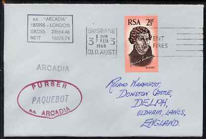 South Africa used in Brisbane (Queensland) 1968 Paquebot cover to England carried on SS Arcadia with various paquebot and ships cachets