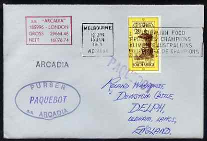 South Africa used in Melbourne (Victoria) 1968 Paquebot cover to England carried on SS Arcadia with various paquebot and ships cachets