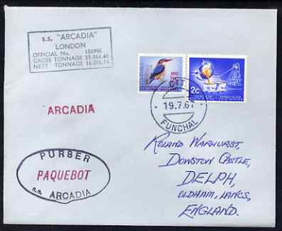 South Africa used in Funchal (Portugal) 1968 Paquebot cover to England carried on SS Arcadia with various paquebot and ships cachets