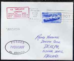 India used in Perth (Western Australia) 1968 Paquebot cover to England carried on SS Arcadia with various paquebot and ships cachets