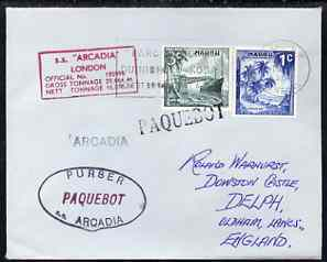 Nauru used in Dakar (Senegal) 1968 Paquebot cover to England carried on SS Arcadia with various paquebot and ships cachets