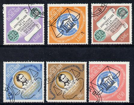 Burundi 1963 Human Rights cto set of 6, SG 66-71
