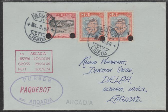 Niue used in Lisbon (Portugal) 1968 Paquebot cover to England carried on SS Arcadia with various paquebot and ships cachets