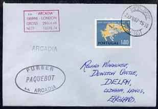 Portugal used in Cape Town (South Africa) 1968 Paquebot cover to England carried on SS Arcadia with various paquebot and ships cachets